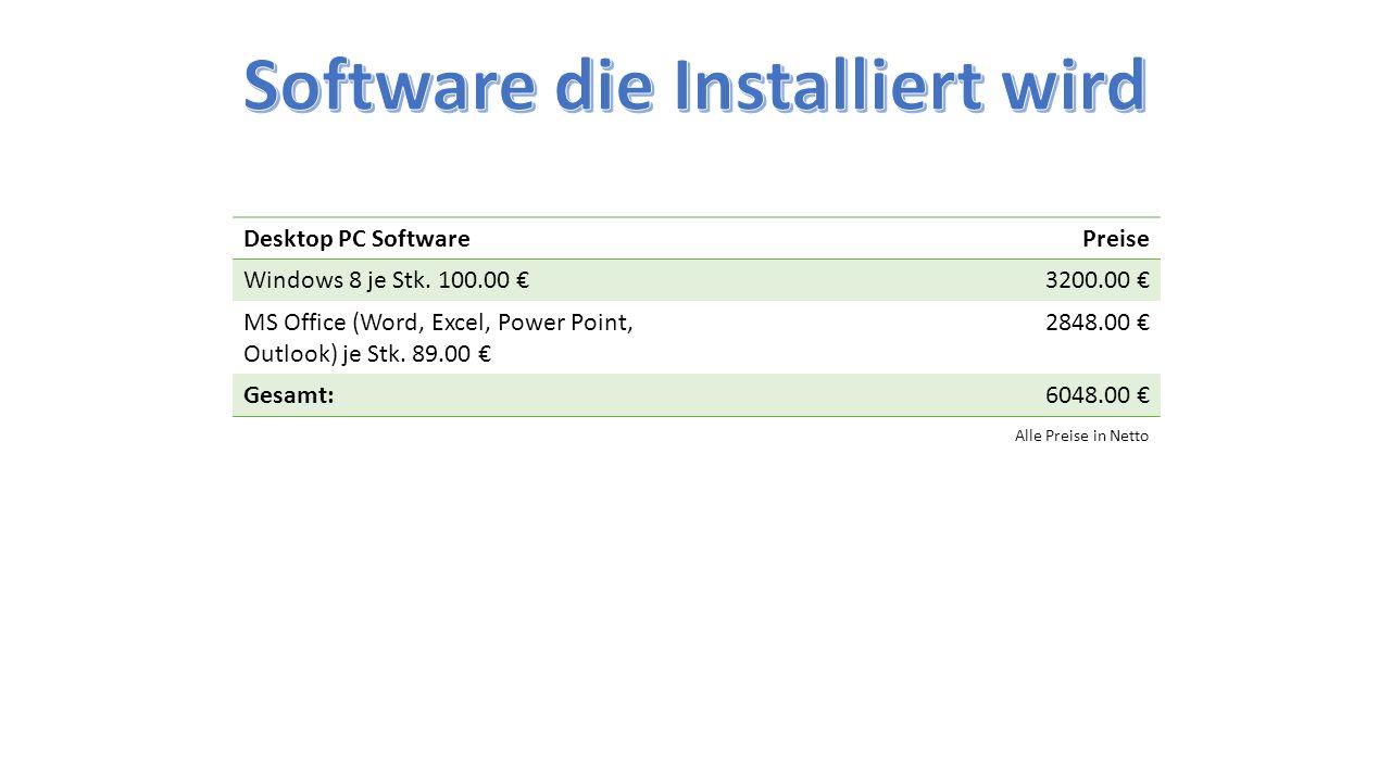 Desktop PC SoftwarePreise Windows 8 je Stk. 100.00 €3200.00 € MS Office (Word, Excel, Power Point, Outlook) je Stk. 89.00 € 2848.00 € Gesamt:6048.00 €
