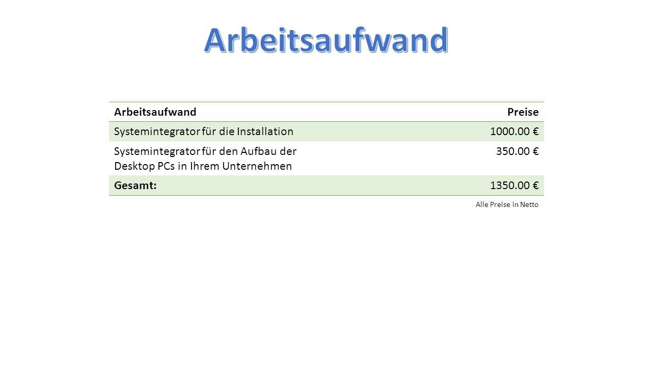 ArbeitsaufwandPreise Systemintegrator für die Installation1000.00 € Systemintegrator für den Aufbau der Desktop PCs in Ihrem Unternehmen 350.00 € Gesa