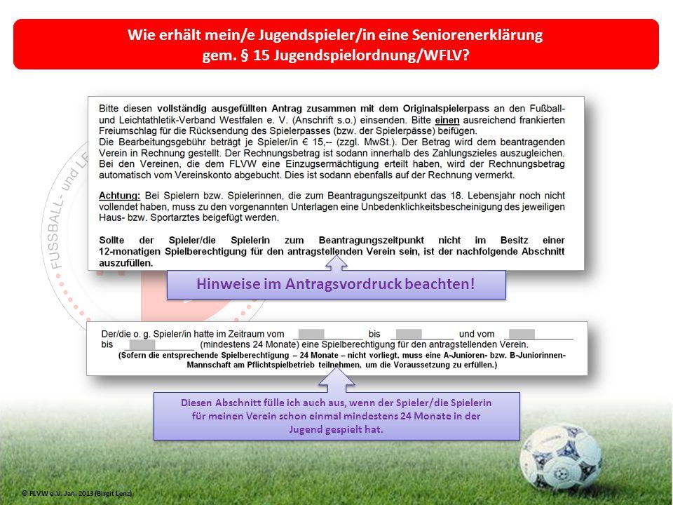 Wie erhält mein/e Jugendspieler/in eine Seniorenerklärung gem. § 15 Jugendspielordnung/WFLV? Hinweise im Antragsvordruck beachten! Diesen Abschnitt fü