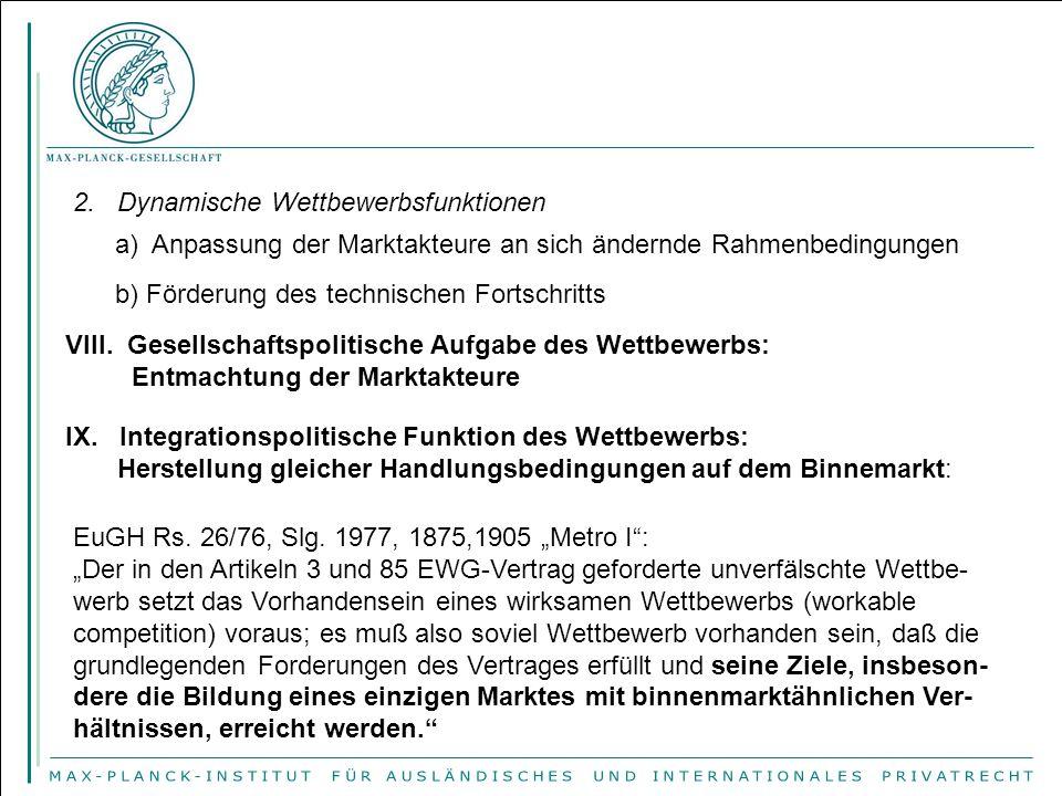 2. Dynamische Wettbewerbsfunktionen a) Anpassung der Marktakteure an sich ändernde Rahmenbedingungen b) Förderung des technischen Fortschritts VIII. G