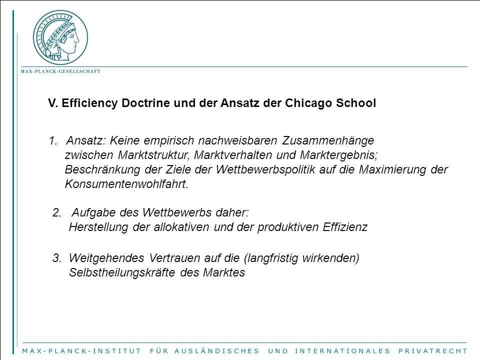 V. Efficiency Doctrine und der Ansatz der Chicago School 1.Ansatz: Keine empirisch nachweisbaren Zusammenhänge zwischen Marktstruktur, Marktverhalten