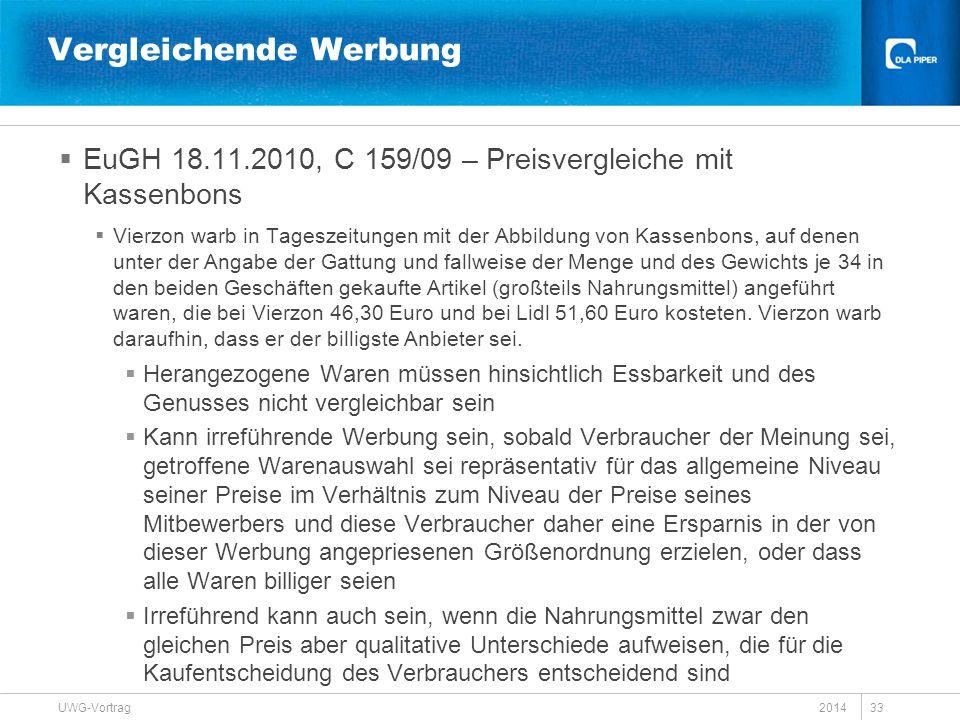 Vergleichende Werbung  EuGH 18.11.2010, C 159/09 – Preisvergleiche mit Kassenbons  Vierzon warb in Tageszeitungen mit der Abbildung von Kassenbons,