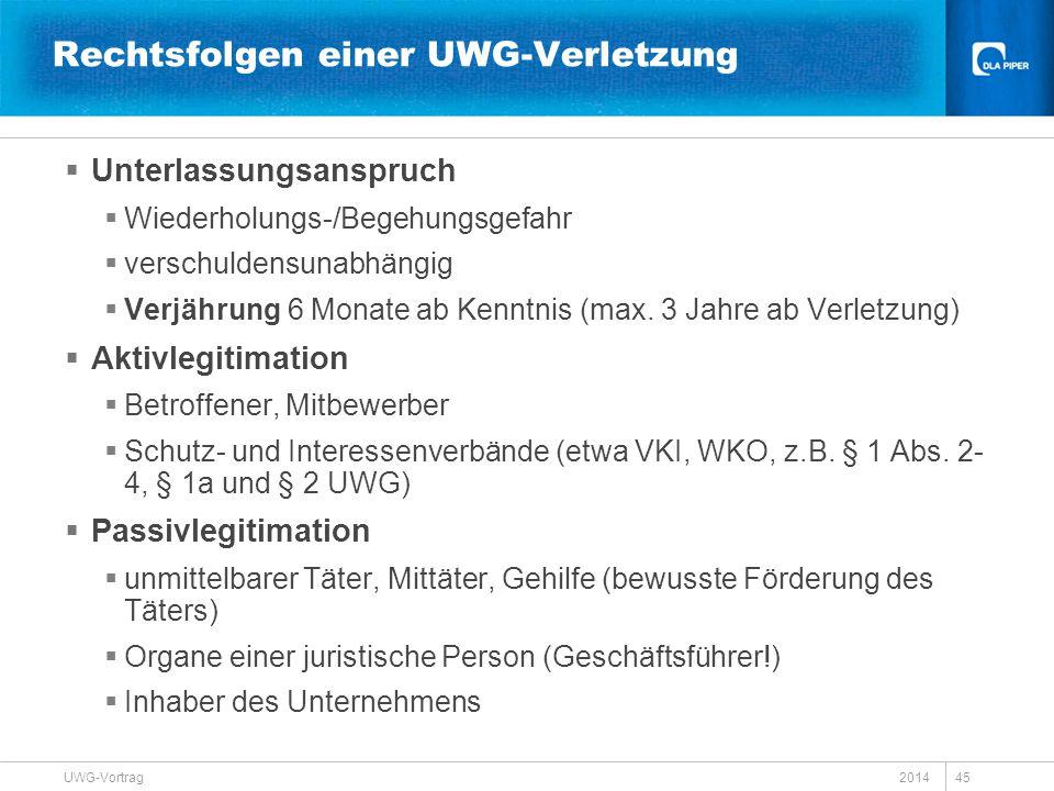 2014 UWG-Vortrag 45  Unterlassungsanspruch  Wiederholungs-/Begehungsgefahr  verschuldensunabhängig  Verjährung 6 Monate ab Kenntnis (max. 3 Jahre