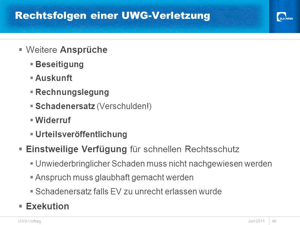 Juni 2011 UWG-Vortrag 46 Rechtsfolgen einer UWG-Verletzung  Weitere Ansprüche  Beseitigung  Auskunft  Rechnungslegung  Schadenersatz (Verschulden
