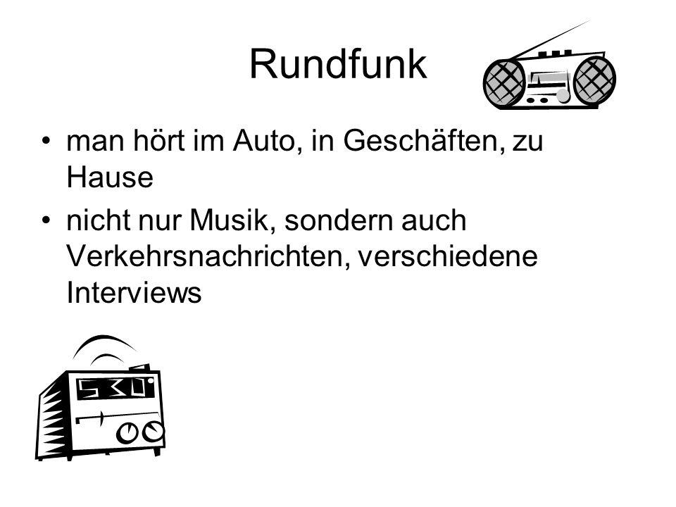 Rundfunk man hört im Auto, in Geschäften, zu Hause nicht nur Musik, sondern auch Verkehrsnachrichten, verschiedene Interviews