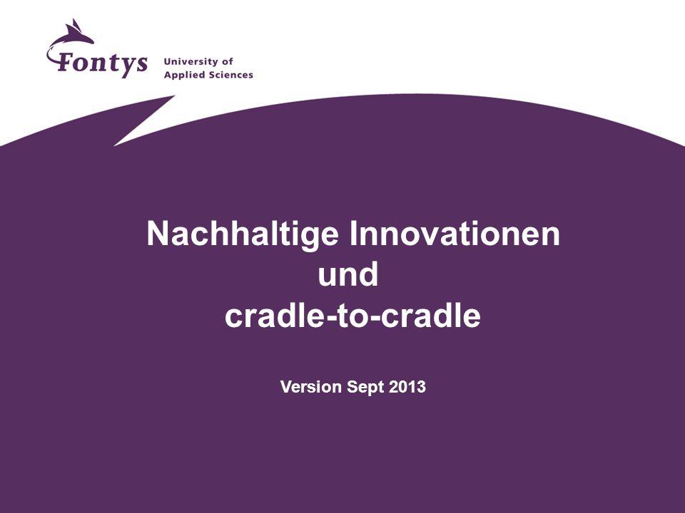 Beziehung von Innovation vs Nachhaltigkeit Um nachhaltig zu werden, ist es notwendig innovativ zu sein.