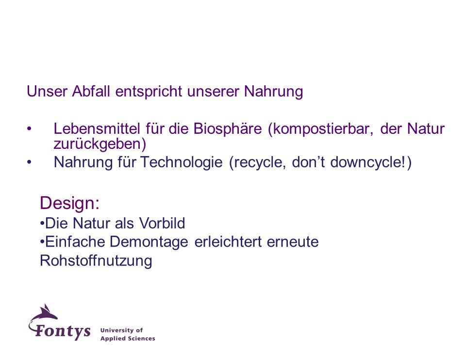 Unser Abfall entspricht unserer Nahrung Lebensmittel für die Biosphäre (kompostierbar, der Natur zurückgeben) Nahrung für Technologie (recycle, don't
