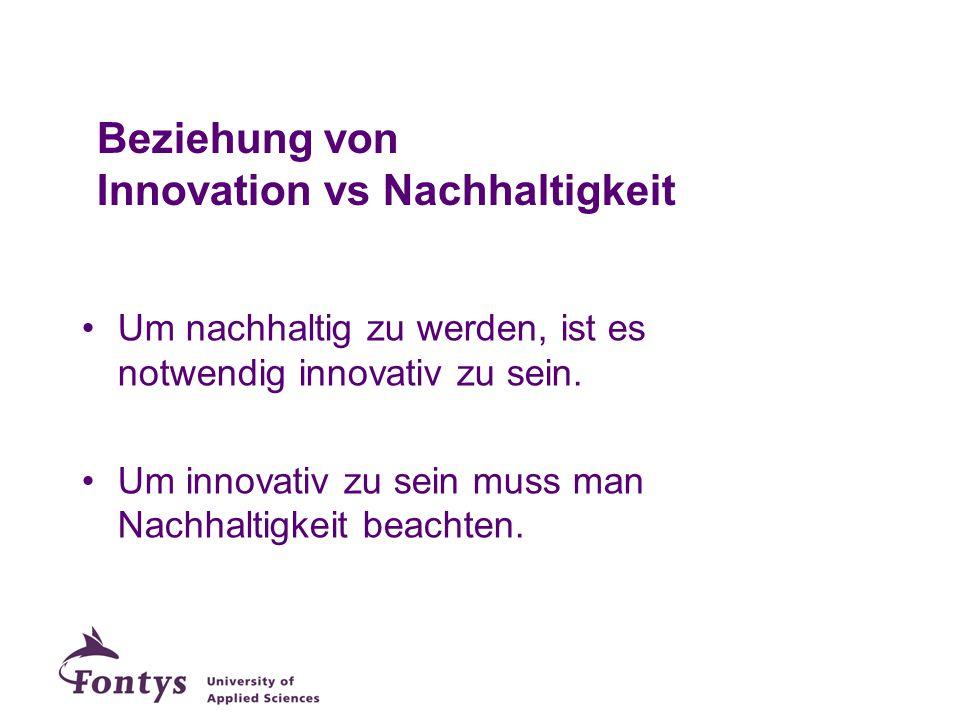 Beziehung von Innovation vs Nachhaltigkeit Um nachhaltig zu werden, ist es notwendig innovativ zu sein. Um innovativ zu sein muss man Nachhaltigkeit b