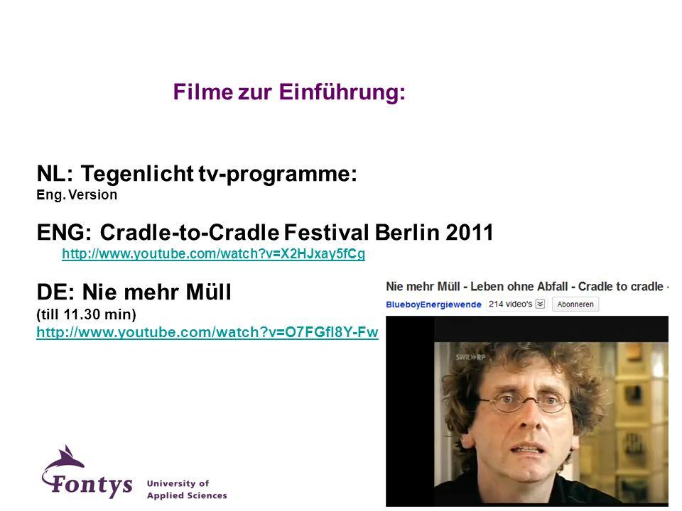 Filme zur Einführung: NL: Tegenlicht tv-programme: Eng. Version ENG: Cradle-to-Cradle Festival Berlin 2011 http://www.youtube.com/watch?v=X2HJxay5fCg