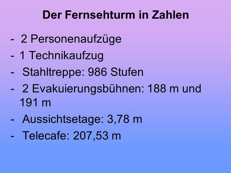 Der Fernsehturm in Zahlen - 2 Personenaufzüge -1 Technikaufzug - Stahltreppe: 986 Stufen - 2 Evakuierungsbühnen: 188 m und 191 m - Aussichtsetage: 3,7