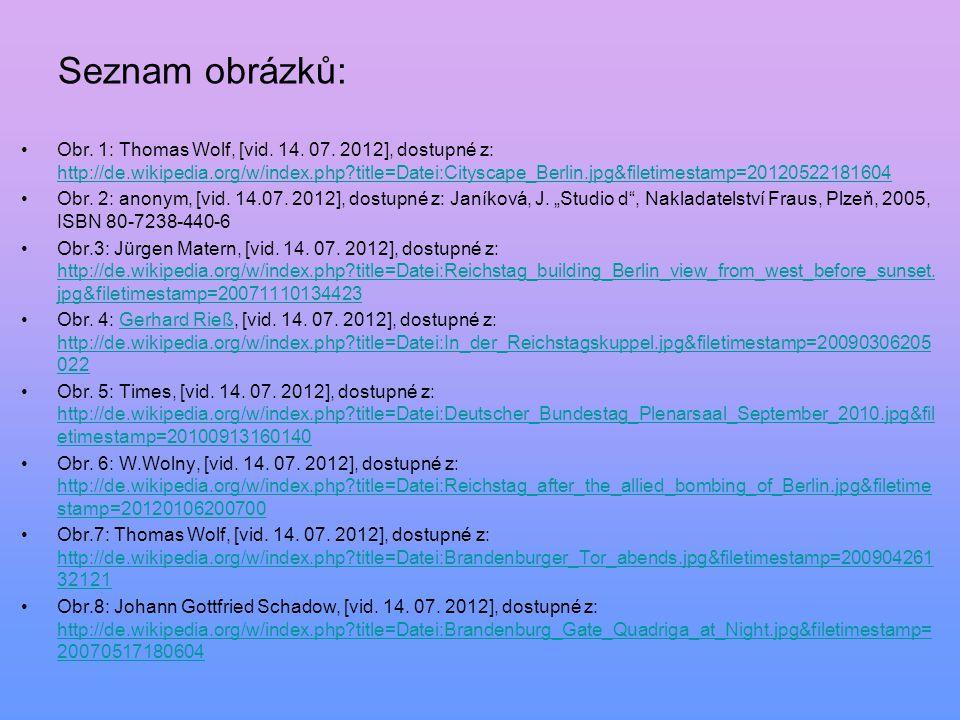 Seznam obrázků: Obr. 1: Thomas Wolf, [vid. 14. 07. 2012], dostupné z: http://de.wikipedia.org/w/index.php?title=Datei:Cityscape_Berlin.jpg&filetimesta