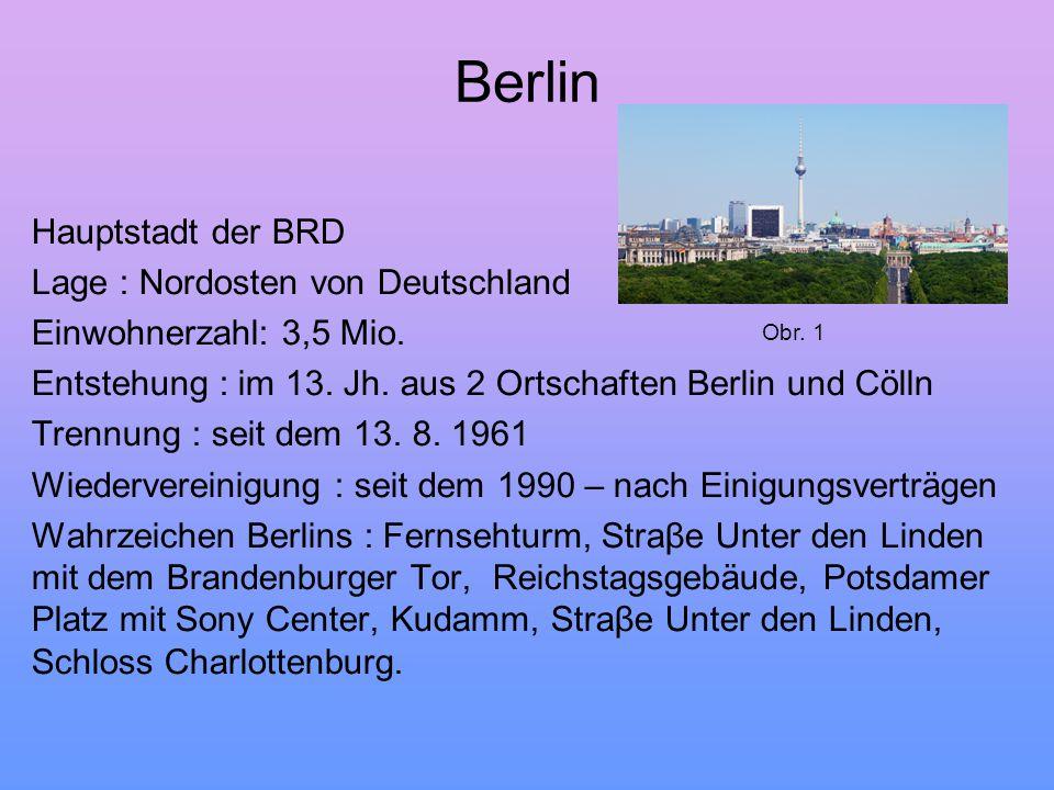 Berlin Hauptstadt der BRD Lage : Nordosten von Deutschland Einwohnerzahl: 3,5 Mio. Entstehung : im 13. Jh. aus 2 Ortschaften Berlin und Cölln Trennung