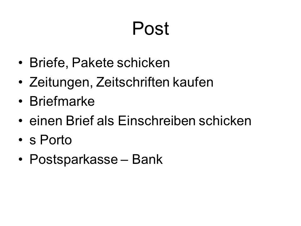 Post Briefe, Pakete schicken Zeitungen, Zeitschriften kaufen Briefmarke einen Brief als Einschreiben schicken s Porto Postsparkasse – Bank