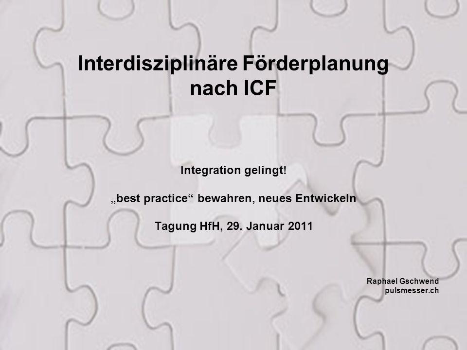 """1 Interdisziplinäre Förderplanung nach ICF Integration gelingt! """"best practice"""" bewahren, neues Entwickeln Tagung HfH, 29. Januar 2011 Raphael Gschwen"""