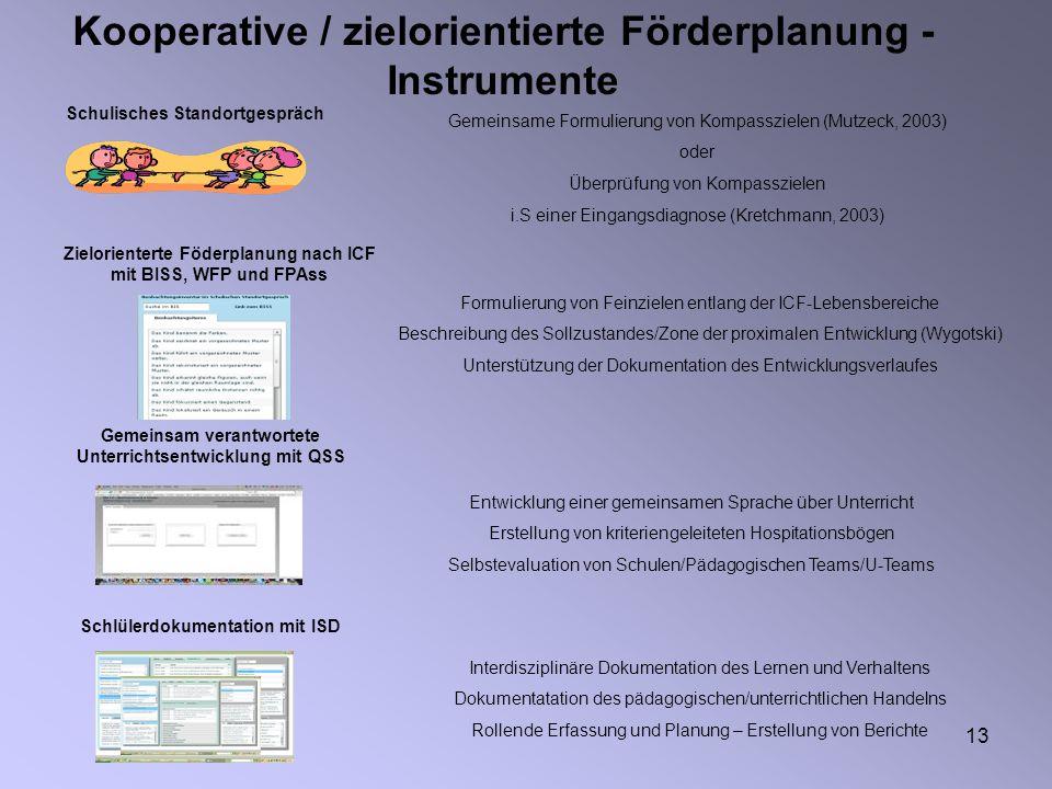 13 Kooperative / zielorientierte Förderplanung - Instrumente Schulisches Standortgespräch Gemeinsame Formulierung von Kompasszielen (Mutzeck, 2003) od