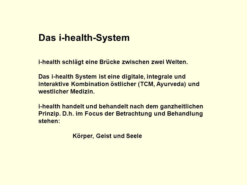 Das i-health-System i-health schlägt eine Brücke zwischen zwei Welten. Das i-health System ist eine digitale, integrale und interaktive Kombination ös