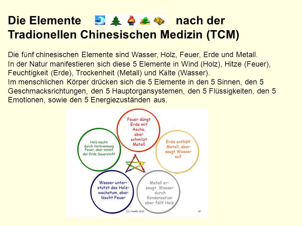 Die Elemente nach der Tradionellen Chinesischen Medizin (TCM) Die f ü nf chinesischen Elemente sind Wasser, Holz, Feuer, Erde und Metall. In der Natur