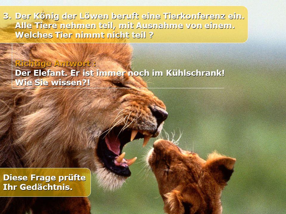3.Der König der Löwen beruft eine Tierkonferenz ein. Alle Tiere nehmen teil, mit Ausnahme von einem. Welches Tier nimmt nicht teil ? Richtige Antwort