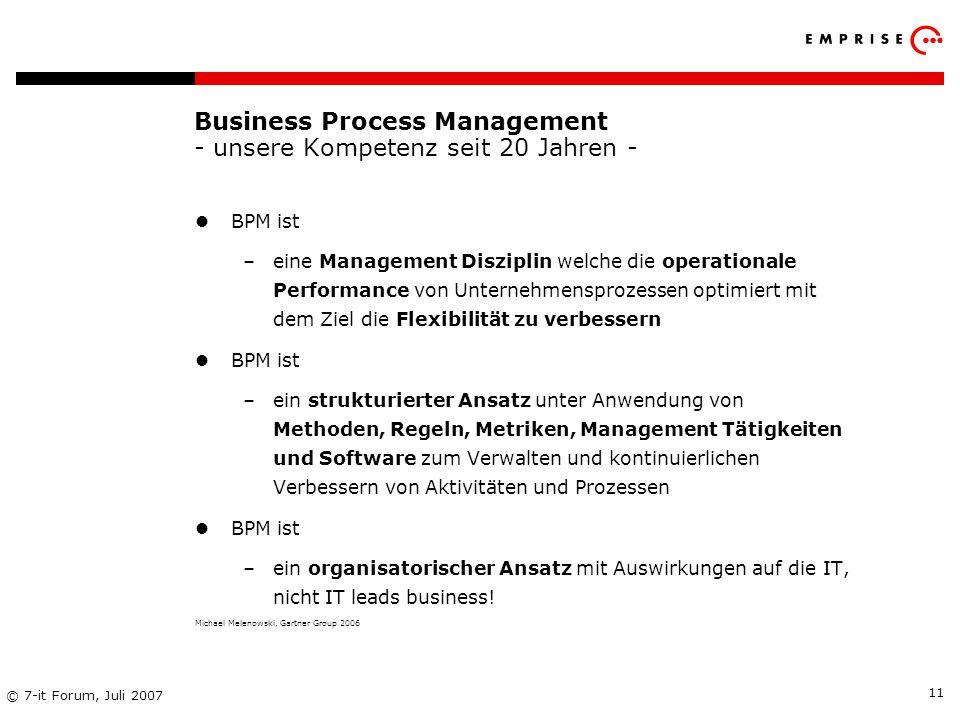 Copyright: EMPRISE Management Consulting AG EMPRISE 05/06 © 7-it Forum, Juli 2007 11 Business Process Management - unsere Kompetenz seit 20 Jahren - B