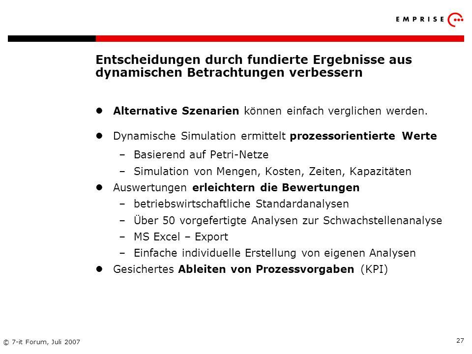 Copyright: EMPRISE Management Consulting AG EMPRISE 05/06 © 7-it Forum, Juli 2007 27 Entscheidungen durch fundierte Ergebnisse aus dynamischen Betrach