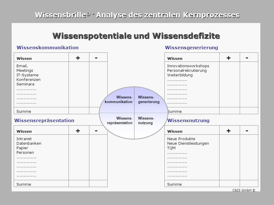 Wissenskommunikation Wissensbrille © - Analyse des zentralen Kernprozesses Wissenspotentiale und Wissensdefizite WissensrepräsentationWissensnutzung W