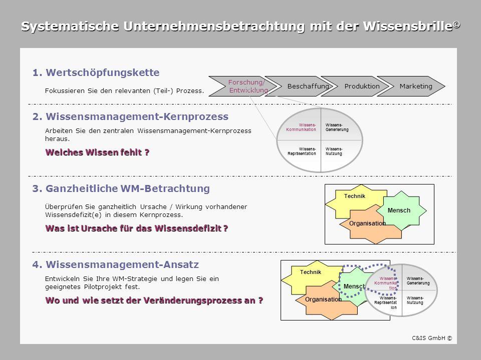 1. Wertschöpfungskette Wissens- Repräsentation Wissens- Kommunikation Wissens- Generierung Wissens- Nutzung Systematische Unternehmensbetrachtung mit
