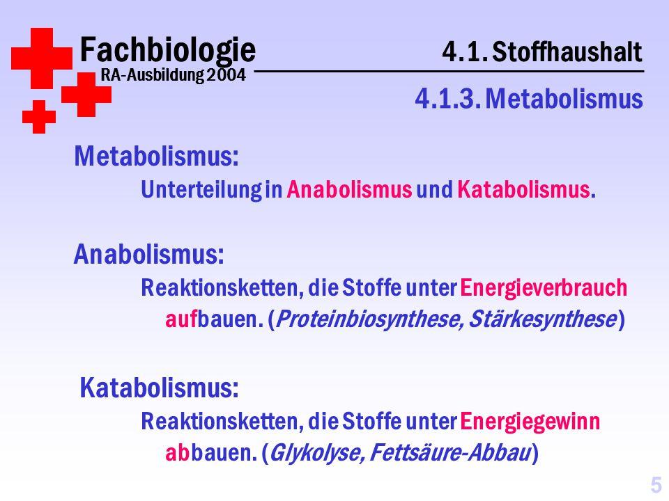 Fachbiologie 4.1.Stoffhaushalt RA-Ausbildung 2004 4.1.3.