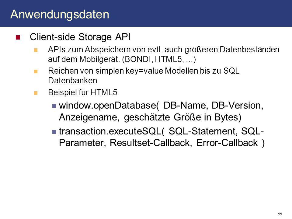 Anwendungsdaten Client-side Storage API APIs zum Abspeichern von evtl. auch größeren Datenbeständen auf dem Mobilgerät. (BONDI, HTML5,...) Reichen von