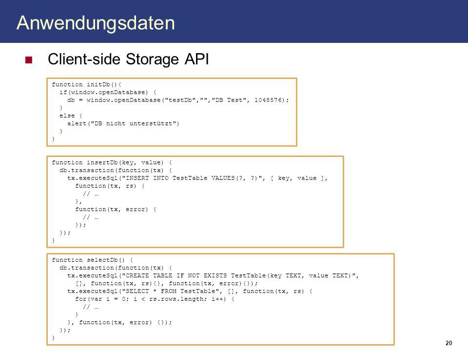 Anwendungsdaten Client-side Storage API 20 function initDb(){ if(window.openDatabase) { db = window.openDatabase(