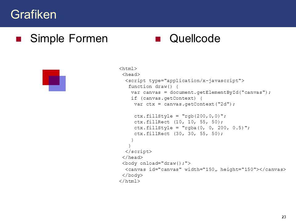 Grafiken Simple Formen Quellcode 23 function draw() { var canvas = document.getElementById(