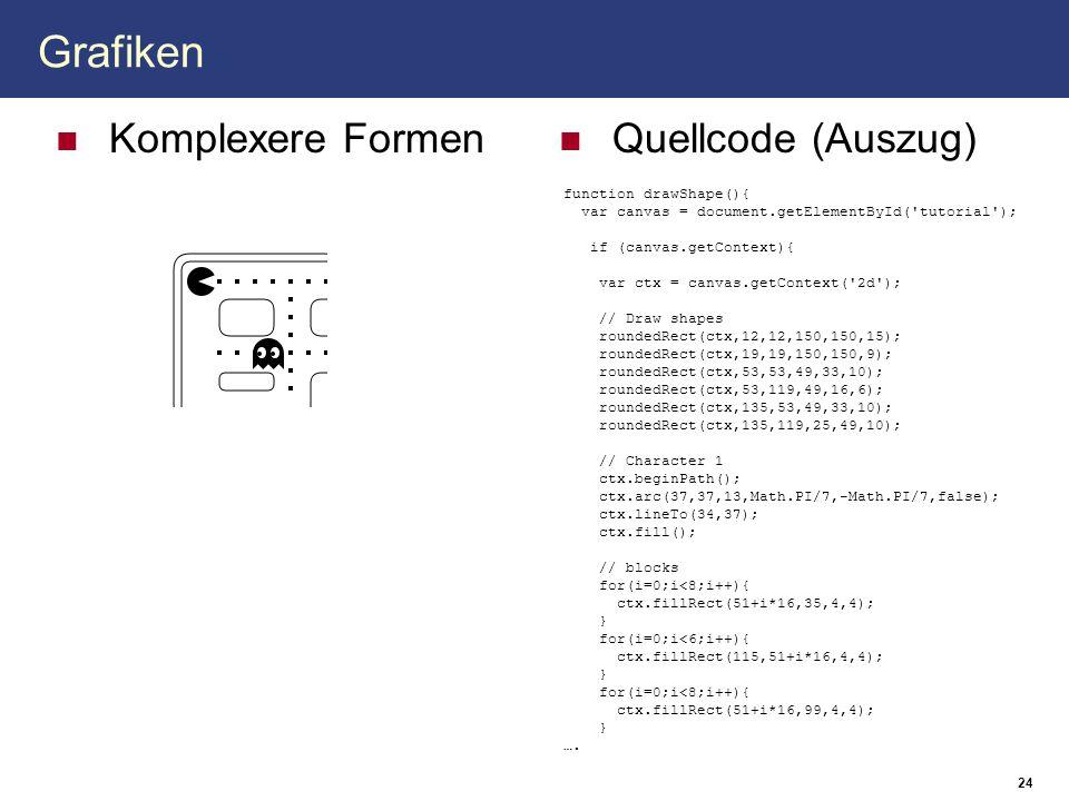 Grafiken Komplexere Formen Quellcode (Auszug) 24 function drawShape(){ var canvas = document.getElementById('tutorial'); if (canvas.getContext){ var c