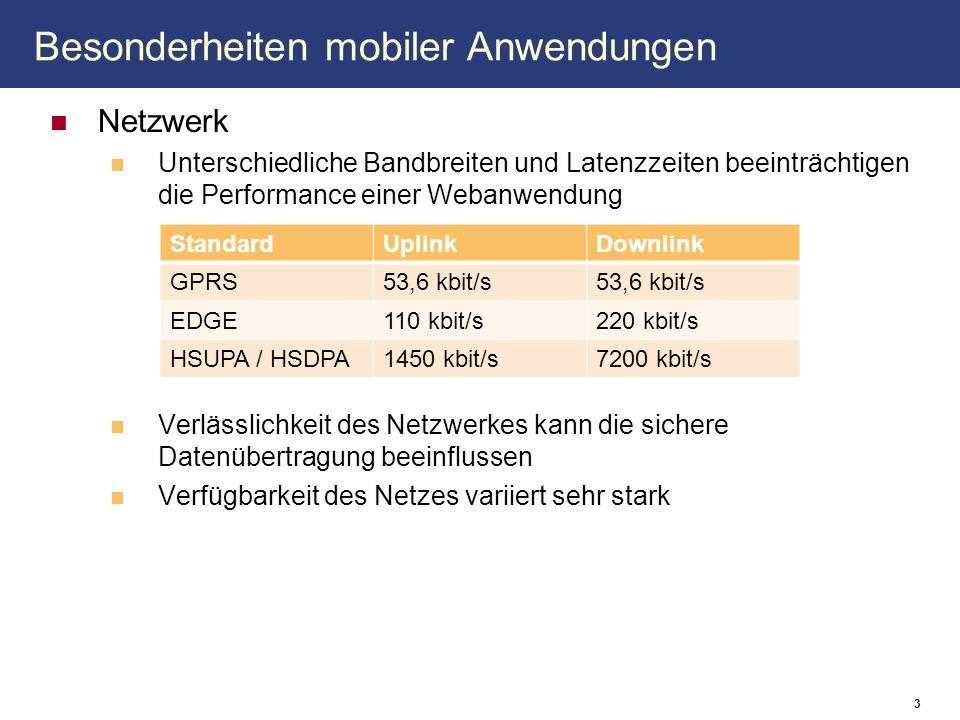 Besonderheiten mobiler Anwendungen Netzwerk Unterschiedliche Bandbreiten und Latenzzeiten beeinträchtigen die Performance einer Webanwendung Verlässli