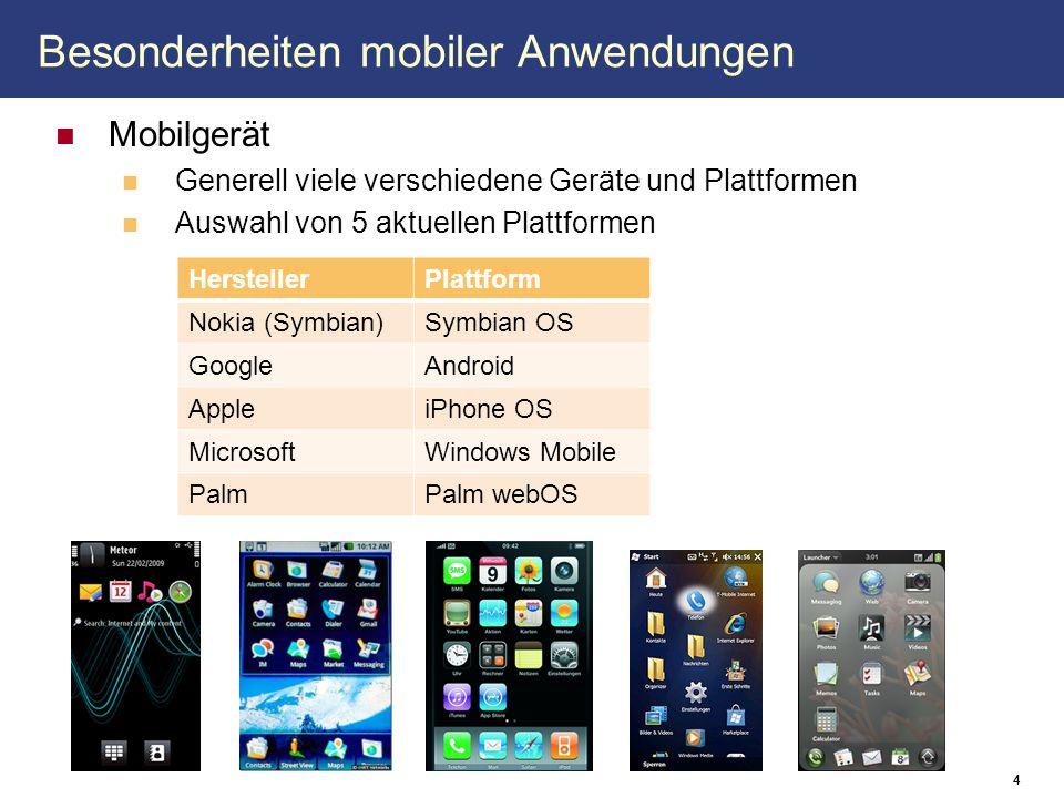 Besonderheiten mobiler Anwendungen Mobilgerät Generell viele verschiedene Geräte und Plattformen Auswahl von 5 aktuellen Plattformen 4 HerstellerPlatt