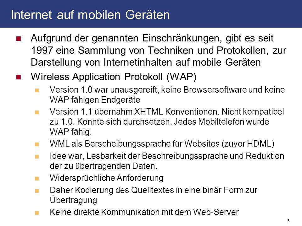 Internet auf mobilen Geräten Aufgrund der genannten Einschränkungen, gibt es seit 1997 eine Sammlung von Techniken und Protokollen, zur Darstellung vo