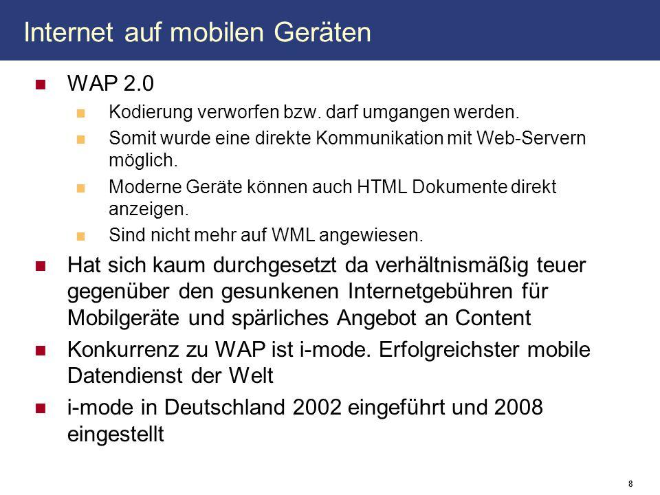 Internet auf mobilen Geräten WAP 2.0 Kodierung verworfen bzw. darf umgangen werden. Somit wurde eine direkte Kommunikation mit Web-Servern möglich. Mo