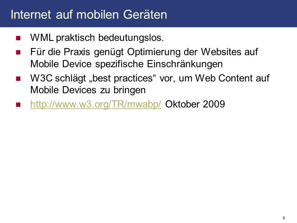 Internet auf mobilen Geräten WML praktisch bedeutungslos. Für die Praxis genügt Optimierung der Websites auf Mobile Device spezifische Einschränkungen