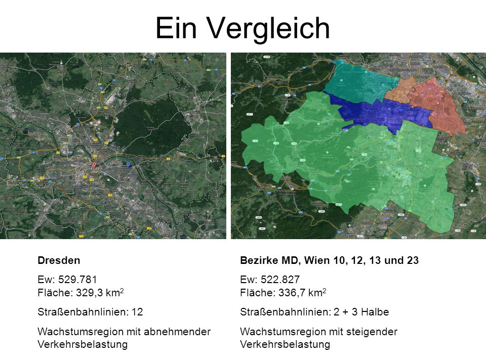 Ein Vergleich Dresden Ew: 529.781 Fläche: 329,3 km 2 Straßenbahnlinien: 12 Wachstumsregion mit abnehmender Verkehrsbelastung Bezirke MD, Wien 10, 12,