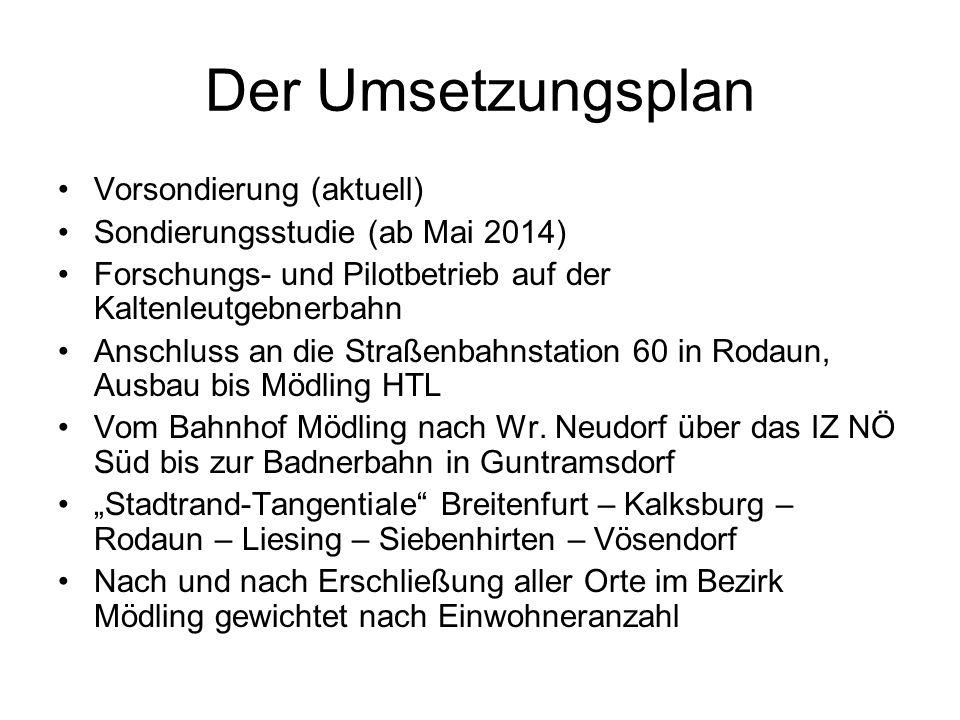 Der Umsetzungsplan Vorsondierung (aktuell) Sondierungsstudie (ab Mai 2014) Forschungs- und Pilotbetrieb auf der Kaltenleutgebnerbahn Anschluss an die Straßenbahnstation 60 in Rodaun, Ausbau bis Mödling HTL Vom Bahnhof Mödling nach Wr.
