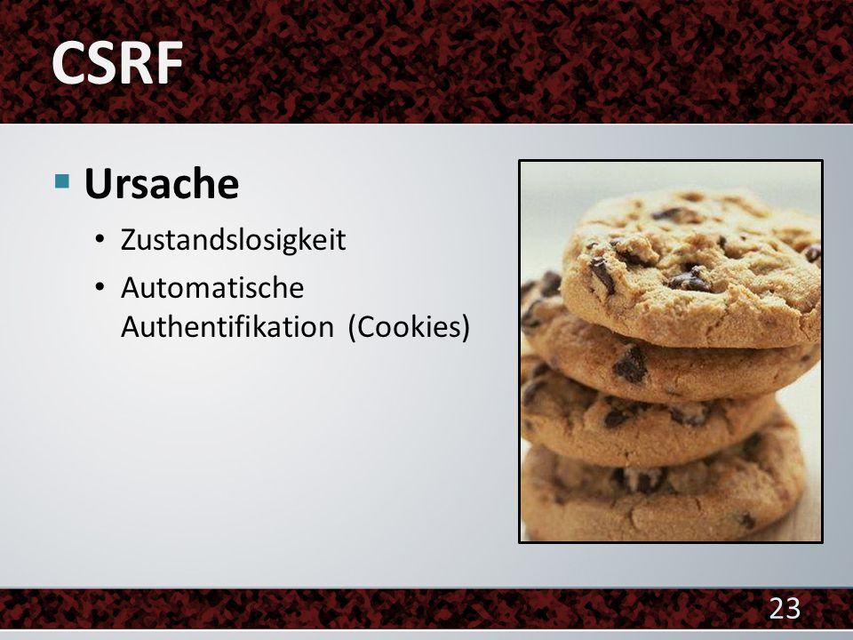  Ursache Zustandslosigkeit Automatische Authentifikation (Cookies) 23