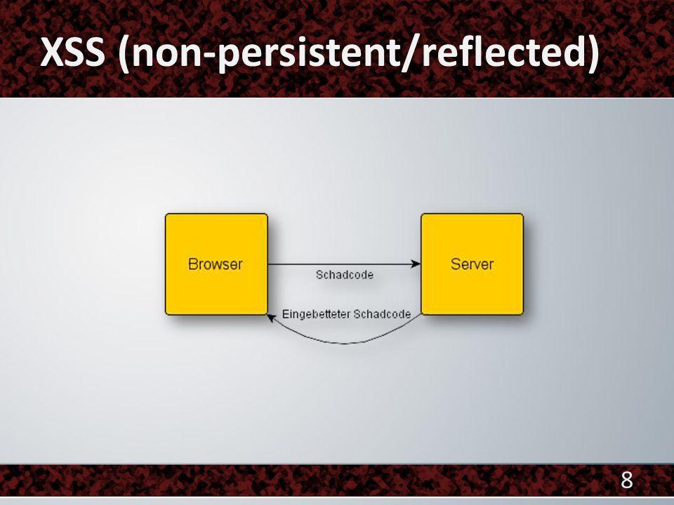  Funktion Serverseitig werden HTTP Requests (bis auf POST) eingeschränkt Token werden verwendet  Nachteile Server muss Token verwalten Token muss Formularfeld zugeordnet sein Abgelaufene Token müssen ungültig gemacht werden  DoS 29 [T1]