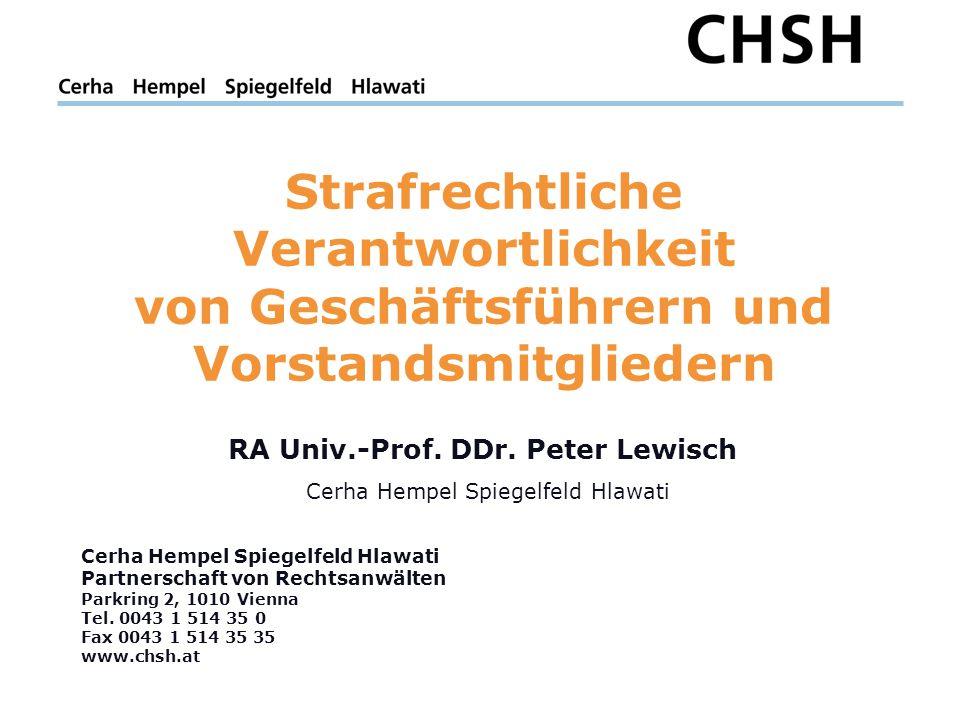 Cerha Hempel Spiegelfeld Hlawati Partnerschaft von Rechtsanwälten Parkring 2, 1010 Vienna Tel.
