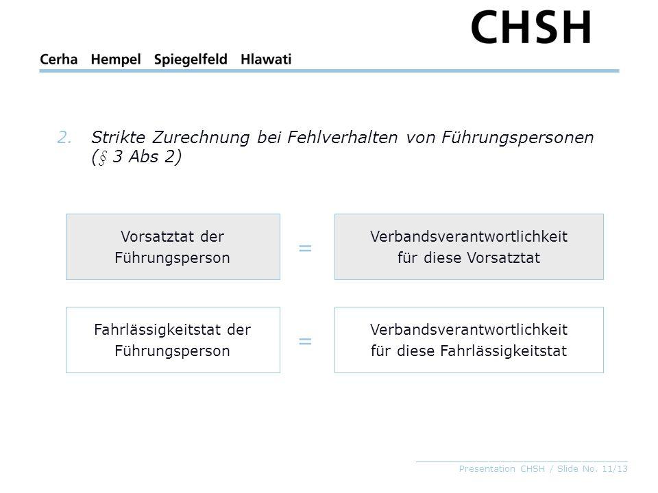 _____________________________________ Presentation CHSH / Slide No. 11/13 2.Strikte Zurechnung bei Fehlverhalten von Führungspersonen (§ 3 Abs 2) Vors