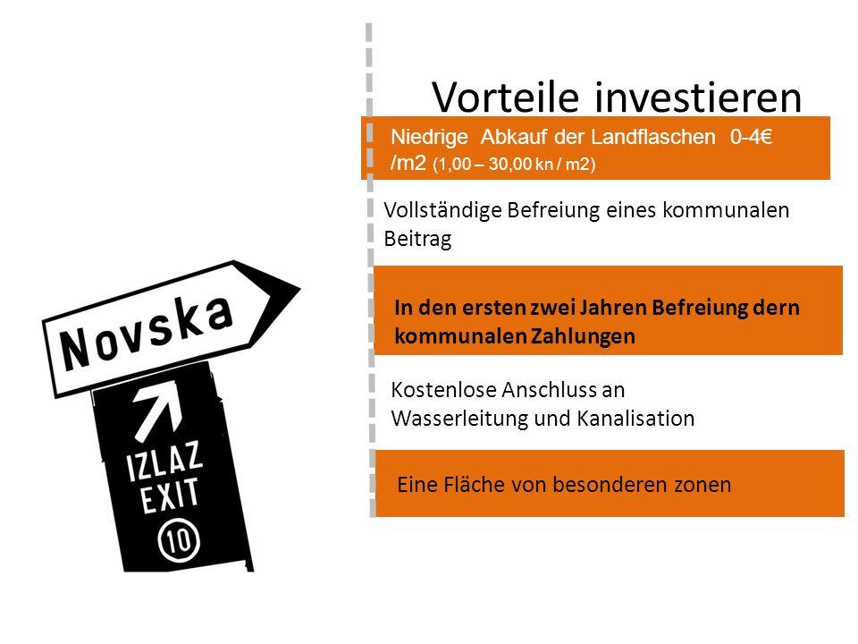 Vorteile investieren Niedrige Abkauf der Landflaschen 0-4€ /m2 (1,00 – 30,00 kn / m2) Vollständige Befreiung eines kommunalen Beitrag In den ersten zw
