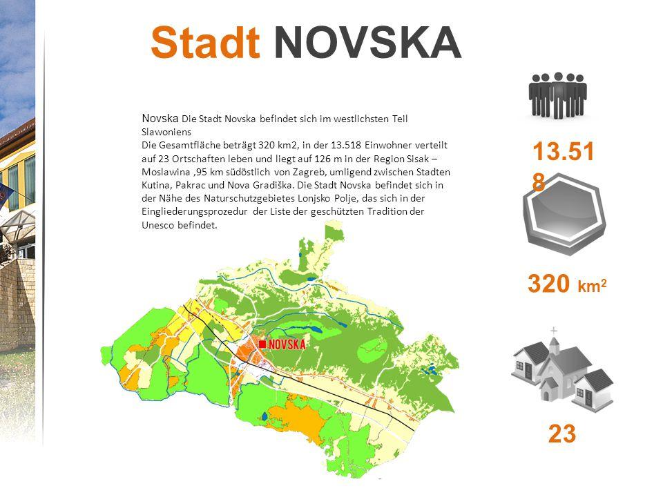Stadt NOVSKA Novska Die Stadt Novska befindet sich im westlichsten Teil Slawoniens Die Gesamtfläche beträgt 320 km2, in der 13.518 Einwohner verteilt auf 23 Ortschaften leben und liegt auf 126 m in der Region Sisak – Moslawina,95 km südöstlich von Zagreb, umligend zwischen Stadten Kutina, Pakrac und Nova Gradiška.