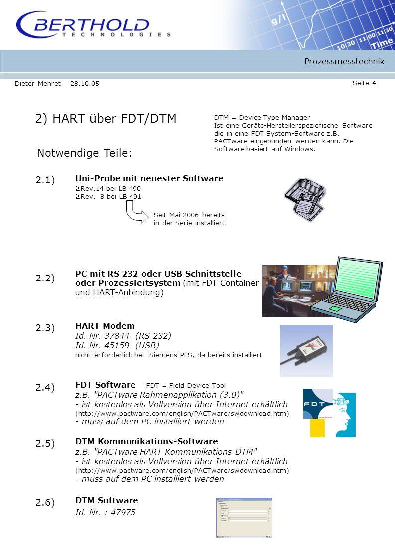 Prozessmesstechnik Seite 4 Dieter Mehret 28.10.05 2) HART über FDT/DTM Notwendige Teile: DTM Software 2.6) Id.