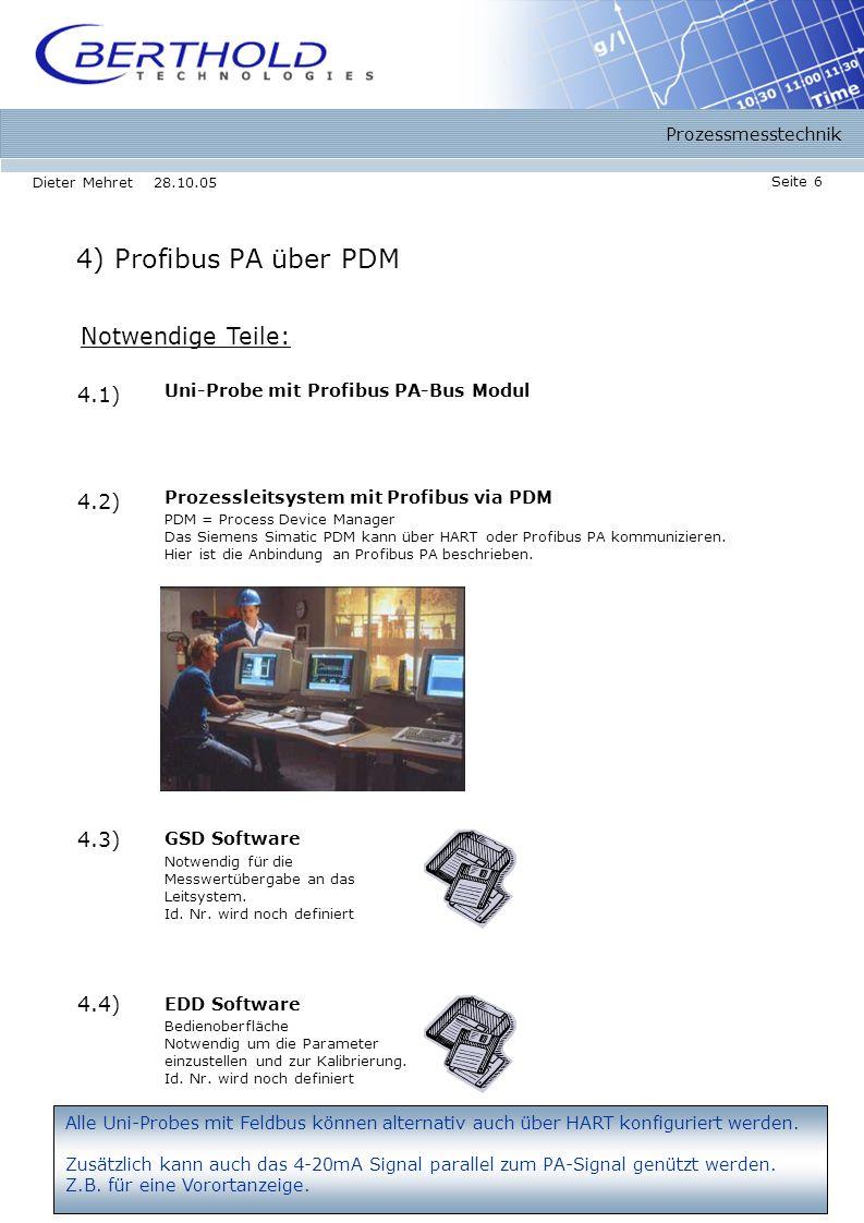 Prozessmesstechnik Seite 6 Dieter Mehret 28.10.05 4) Profibus PA über PDM Notwendige Teile: 4.2) Prozessleitsystem mit Profibus via PDM 4.1) Uni-Probe mit Profibus PA-Bus Modul PDM = Process Device Manager Das Siemens Simatic PDM kann über HART oder Profibus PA kommunizieren.