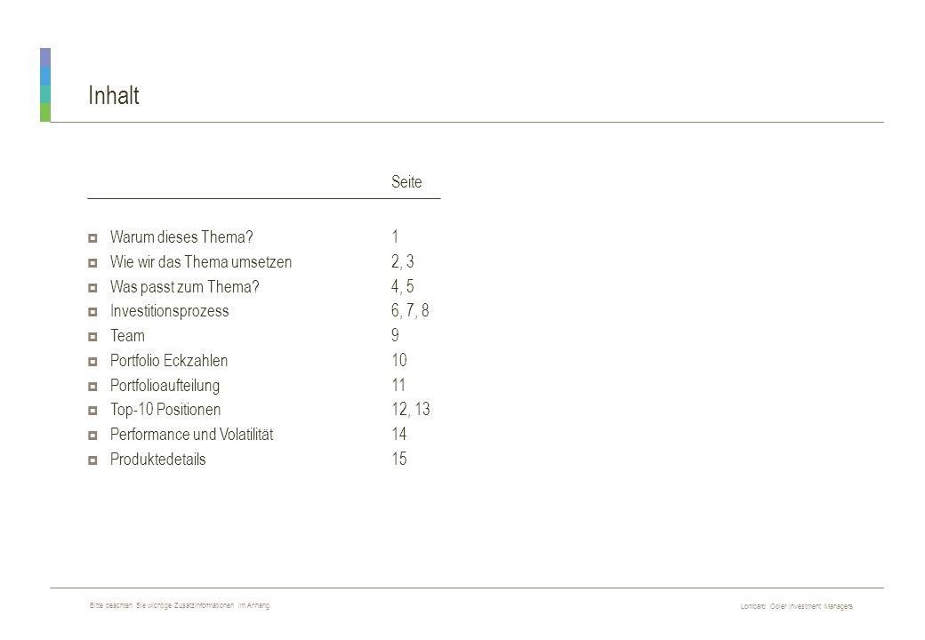 Lombard Odier Investment Managers R E S T R I C T E D Inhalt  Warum dieses Thema?1  Wie wir das Thema umsetzen2, 3  Was passt zum Thema?4, 5  Inve