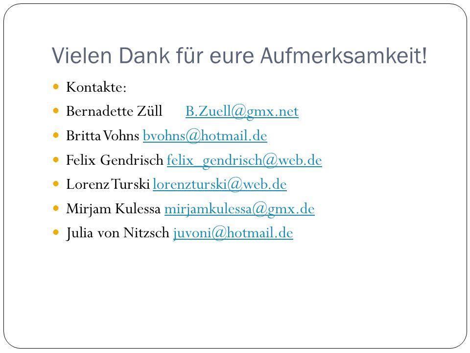 Vielen Dank für eure Aufmerksamkeit! Kontakte: Bernadette Züll B.Zuell@gmx.netB.Zuell@gmx.net Britta Vohns bvohns@hotmail.debvohns@hotmail.de Felix Ge