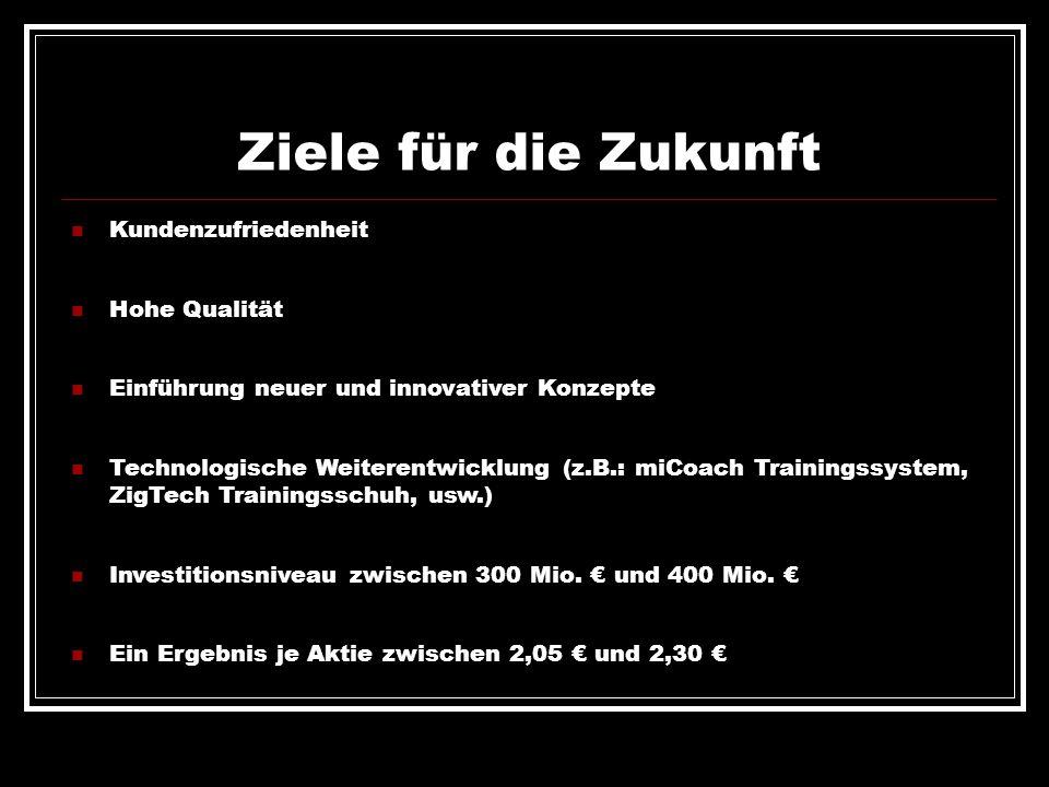 Ziele für die Zukunft Kundenzufriedenheit Hohe Qualität Einführung neuer und innovativer Konzepte Technologische Weiterentwicklung (z.B.: miCoach Trai