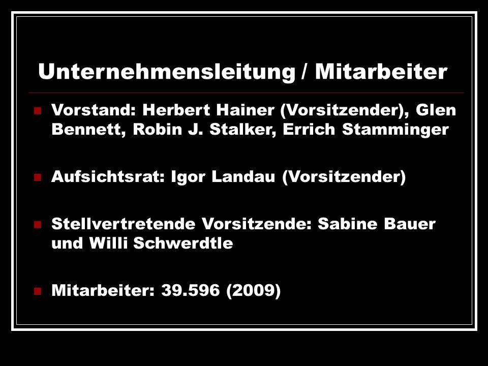 Unternehmensleitung / Mitarbeiter Vorstand: Herbert Hainer (Vorsitzender), Glen Bennett, Robin J. Stalker, Errich Stamminger Aufsichtsrat: Igor Landau